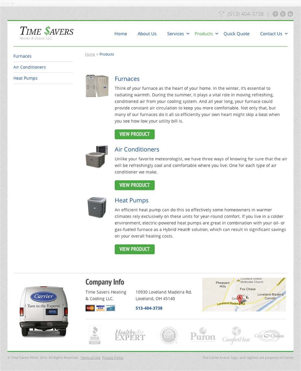 Screen capture of the Time $avers products page.