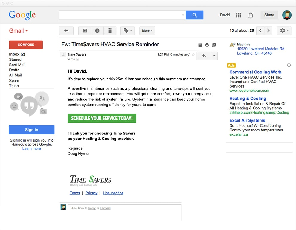 Screen capture of Gmail showing and email from the service reminder plugin.